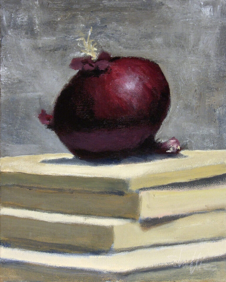 Still Life with Red Onion and Books